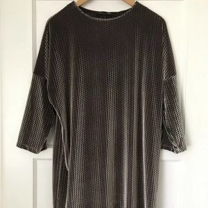 ZARA B/W Collection 3/4 Sleeve Shiny Party Dress M
